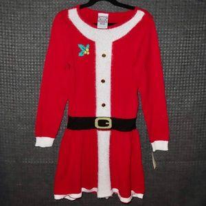 Santa Sweater Dress Girls Small 6-6X